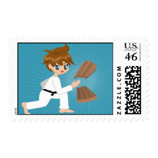 Martial Arts Boy Breaking Board Postage Stamps