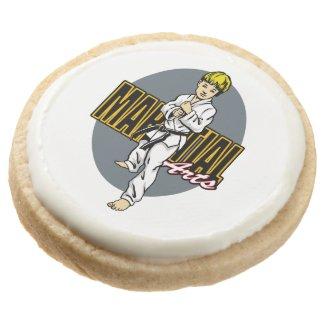Martial Arts Boy Round Shortbread Cookie
