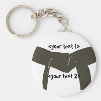 Martial Arts Brown Belt Basic Round Button Keychain