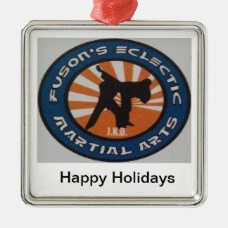 Martial Arts Christmas Holiday Ornamnet Square Metal Christmas Ornament
