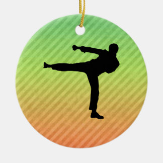 Martial Arts Double-Sided Ceramic Round Christmas Ornament