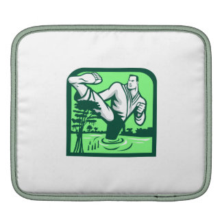 Martial Arts Fighter Kicking Cypress Tree Retro iPad Sleeve