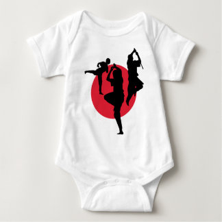 Martial Arts figures on a red circle Baby Bodysuit