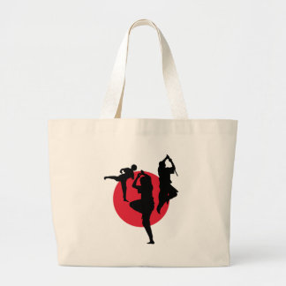 Martial Arts figures on a red circle Large Tote Bag