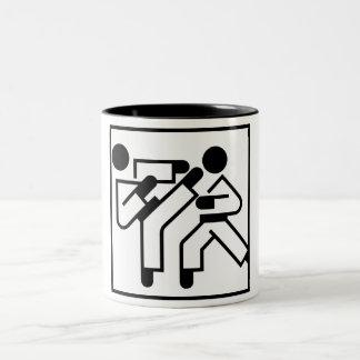 Martial Arts Figures Two-Tone Coffee Mug