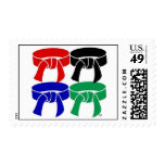 Martial Arts Four Belts Postage Stamps Size Medium