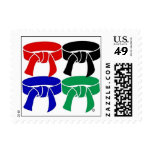 Martial Arts Four Belts Postage Stamps size small