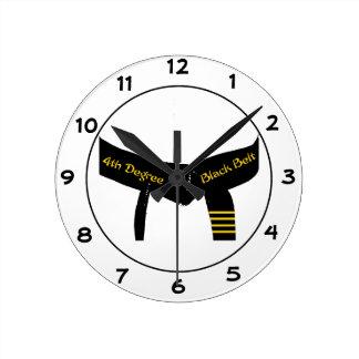 Martial Arts Fourth Degree Black Belt Round Clock
