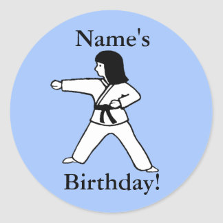 Martial Arts Girl Birthday Stickers