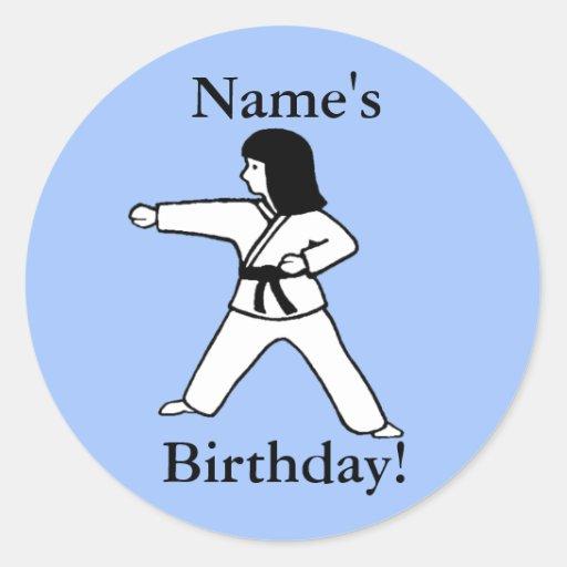 Martial Arts Girl Birthday Stickers