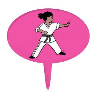 Martial Arts Girl Pink Cake Pick