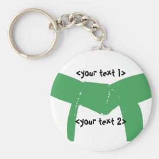 Martial Arts Green Belt Basic Round Button Keychain