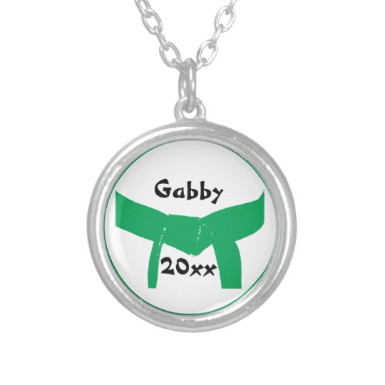 Martial Arts Green Belt Silver Plated Necklace
