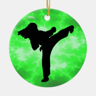 Martial Arts Green Lightning Female Design Double-Sided Ceramic Round Christmas Ornament
