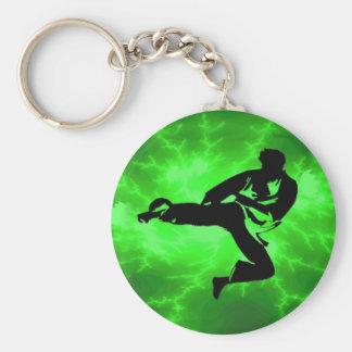 Martial Arts Green Lightning Man Basic Round Button Keychain