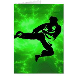 Martial Arts Green Lightning Man Card