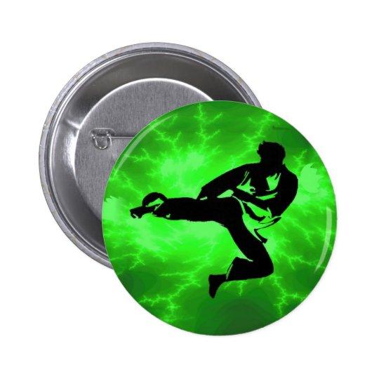 Martial Arts Green Lightning Man Pinback Button