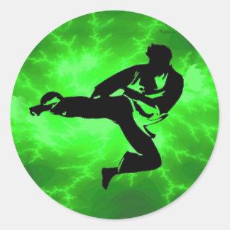 Martial Arts Green Lightning Man Round Sticker