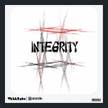 """Martial Arts Integrity Wall Decal<br><div class=""""desc"""">An important tenet or virtue to a martial artist is integrity - always telling the truth or being truthful.  The Martial Arts Integrity Wall Sticker features an abstract black,  red and gray fractal art design background and an Asian style font.</div>"""