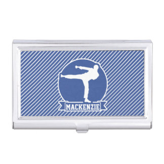 Martial Arts, Karate, Blue & White Stripes Business Card Holders