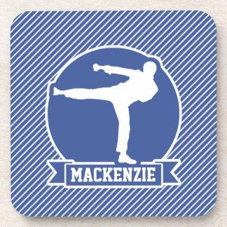 Martial Arts, Karate, Blue & White Stripes Beverage Coasters