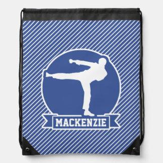 Martial Arts, Karate, Blue & White Stripes Drawstring Backpack