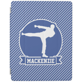 Martial Arts, Karate, Blue & White Stripes iPad Cover