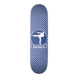 Martial Arts, Karate, Blue & White Stripes Skateboard
