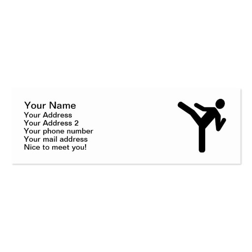Martial arts kick symbol business cards