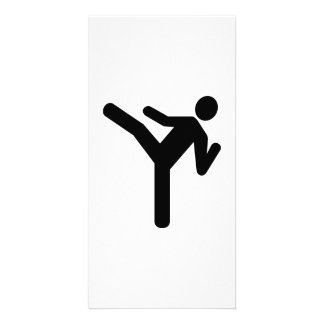 Martial arts kick symbol photo card
