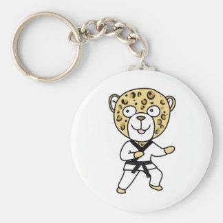 Martial Arts Leopard Basic Round Button Keychain