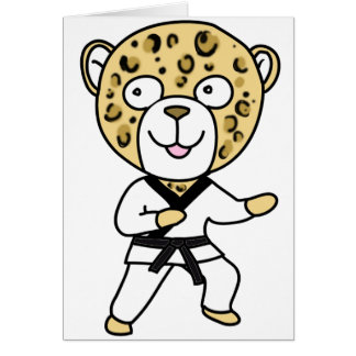 Martial Arts Leopard Greeting Card