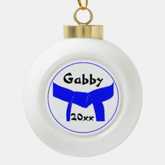 Martial Arts Light Blue Belt Rank Ceramic Ball Christmas Ornament