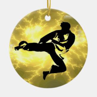 Martial Arts Lightning Bronze Male Design Ceramic Ornament