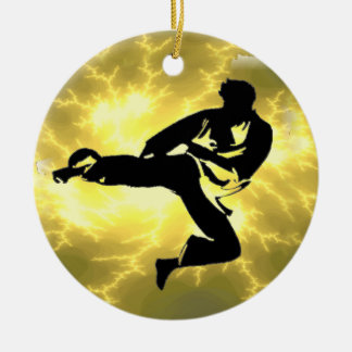 Martial Arts Lightning Bronze Male Design Double-Sided Ceramic Round Christmas Ornament