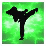 Martial Arts Lightning Girl green invitations