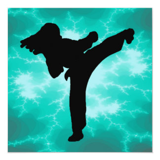 Martial Arts Lightning Invitation female in Teal