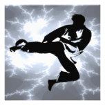 Martial Arts Lightning Male Invitation in Silver