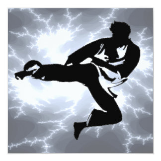 Martial Arts Lightning Male Invitation in Silver