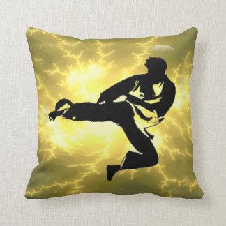 Martial Arts Man Bronze Lightning Pillow