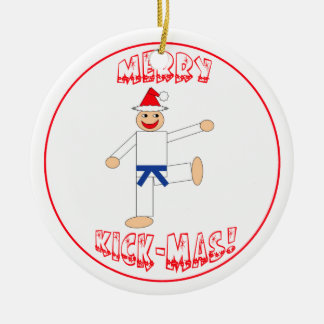Martial Arts Merry Kick Mas Blue Belt Ornament