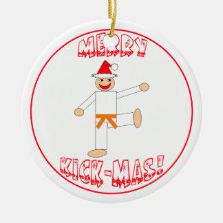 Martial Arts Merry Kick Mas Orange Belt Ceramic Ornament