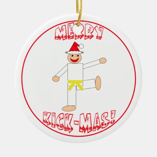 Martial Arts Merry Kick Mas Yellow Belt Ornament