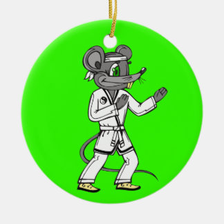 Martial Arts Mouse Mice Double-Sided Ceramic Round Christmas Ornament
