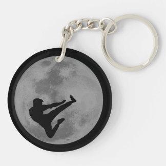 Martial Arts Ninja Moon Double-Sided Round Acrylic Keychain
