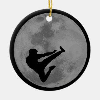 Martial Arts Ninja Moon Double-Sided Ceramic Round Christmas Ornament