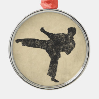 Martial Arts Round Metal Christmas Ornament