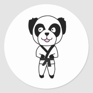 Martial Arts Panda Bear Classic Round Sticker