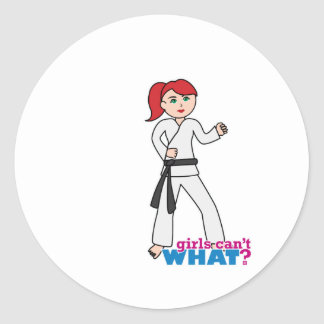 Martial Arts - Ponytail (Light/Red) Classic Round Sticker