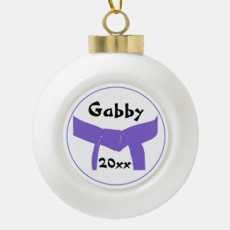 Martial Arts Purple Belt Ceramic Ball Christmas Ornament
